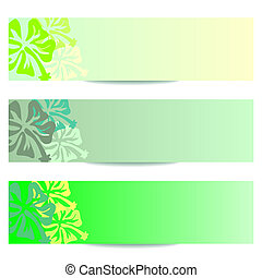 HIBISCUS floral banner green