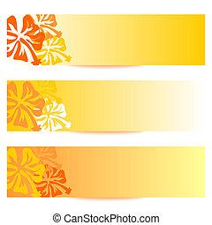HIBISCUS floral banner orange