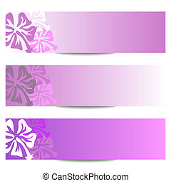 HIBISCUS floral banner purple