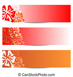 HIBISCUS floral banner red