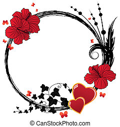 hibiscus, floral, cadre, cœurs