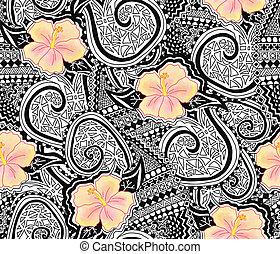 Hibiscus flower and tattoo tribal seamless repeating pattern. Polynesian hawaiian style tribal tattoo and yellow hibiscus florals background. Use for fabric, wallpaper, Hawaiian decor.