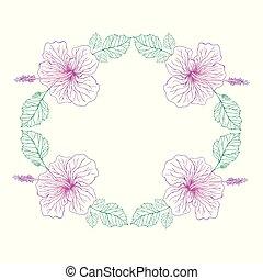 Hibiscus flower pink color, vintage frame background