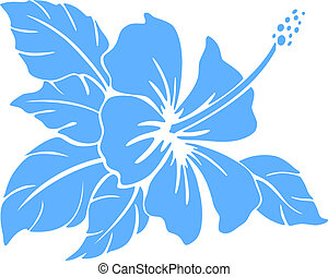 Hibiscus flower. Silhouette - Hibiscus flower silhouette on...