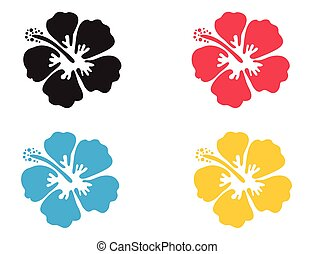 Hibiscus flower. Vector illustration. Hibiscus icon in 4...