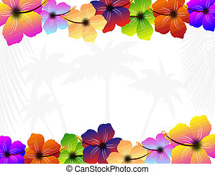 Frame with hibiscus flowers, vector illustration