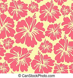 hibiscus flowers seamless pattern. Colorful illustration. Vector