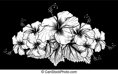 Hibiscus Flowers Vintage Woodcut Etching Engraving