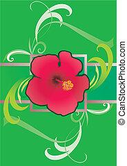 hibiscus green  border illustration