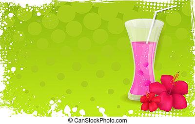 hibiscus, grunge, jus, verre, fleurs, bannière