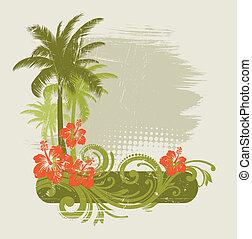hibiscus, met, ornament, en, palmen, -, vector, illustratie