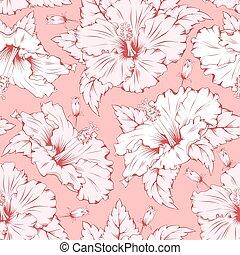 hibiscus, modèle, seamless