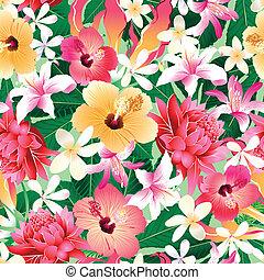 hibiscus, modèle, seamless, exotique, 4, floral