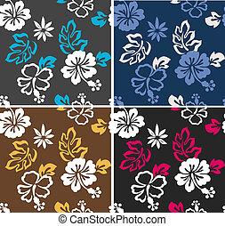 hibiscus, modèle, seamless, tissu
