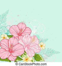 Hibiscus on a green background