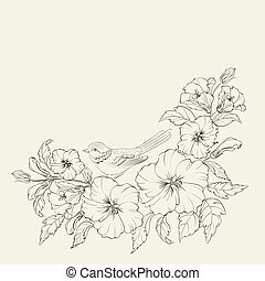 Hibiscus on white background - Hibiscus with bird isolated...