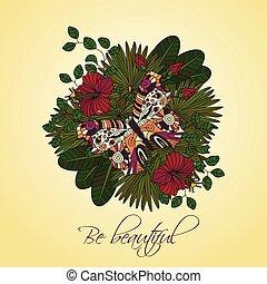 hibiscus, ornement, exotique, vecteur, fleurs, rond, butterfly.