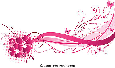Hibiscus pink florals design - Hibiscus flowers with wave...