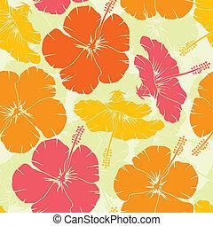 Hibiscus seamless pattern, vector - Hibiscus seamless...