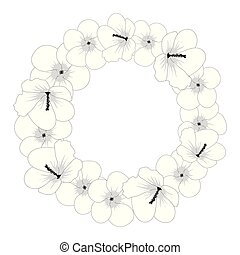 hibiscus, sharon, fleur, contour, rose, syriacus, -, couronne