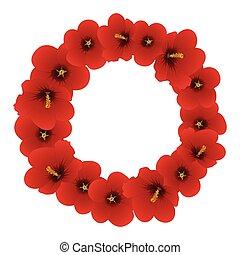 hibiscus, sharon, rose, syriacus, -, wreath., rouges