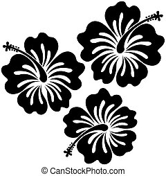 hibiscus sticker - isolated hibiscus flowers in vector...