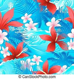 hibiscus, surfer, modèle, seamless, vague, fleurs tropicales, rouges