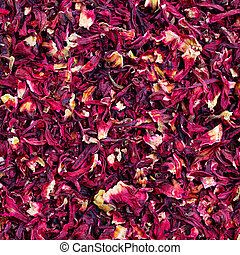 Hibiscus tea background. Close up. Top view.
