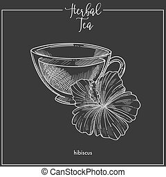 Hibiscus tea cup chalk sketch vector icon for herbal tea, cafeteria or packaging design template