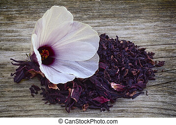 Hibiscus tea (Hibiscus sabdariffa) also known as Karkad? or Roselle. Flower and sepals dried for infusions