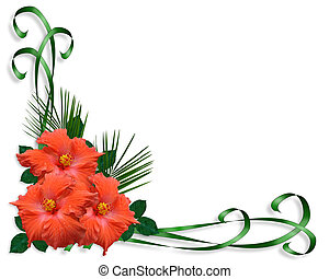 Hibiscus tropical Flowers border - Image and illustration...