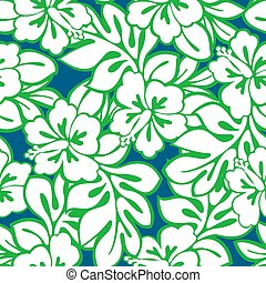 Hibiscus tropical leaves in a seamless pattern