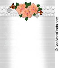hibiscus, trouwfeest, satijn, uitnodiging