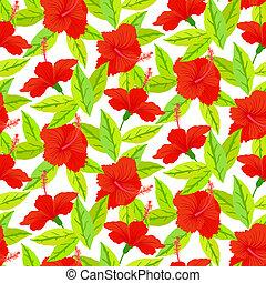 hibiscus, vendange, exotique, modèle, fleurs, rouges