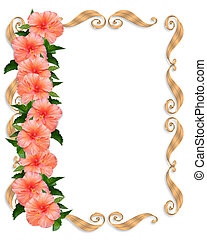 Hibiscus Wedding Floral Border - Image and illustration...