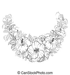 Hibiscus wreath isolated on white background. illustration.