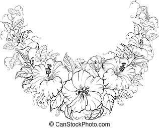 Hibiscus wreath isolated on white background.