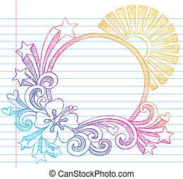 hibiscus, zomer, frame, vakantie