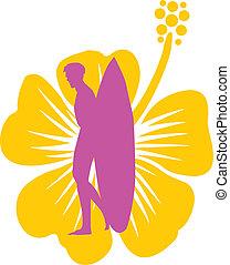 hibiscuse, surfer, e, fiore, vettore, arte