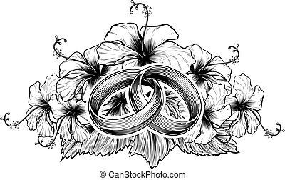 hibiskus, blomningen, ringer, bröllop