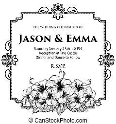 hibiskus, bröllop, blomningen, mall, inbjudan