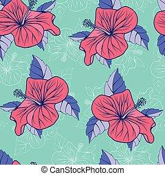hibiskus, dekorativ, seamless, tropisk, bakgrund, blomningen, exotisk