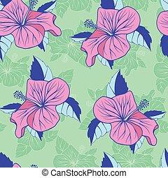hibiskus, exotisk, seamless, dekorativ, bakgrund, blomningen