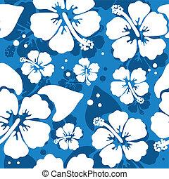 hibiskus, mönster, blomma, seamless, hawaiian