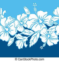 hibiskus, mönster, hybrid, seamless
