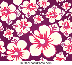hibiskus, muster, seamless