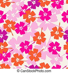 hibiskus, seamless, bakgrund