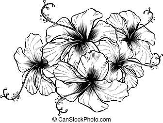 hibiskus, stil, etsning, träsnitt, årgång, retro blommar, inrista