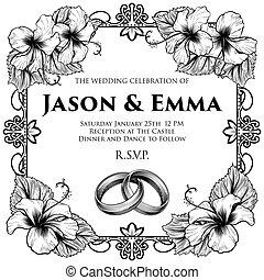 hibiskus, streck, bröllop, blomningen, inbjudan