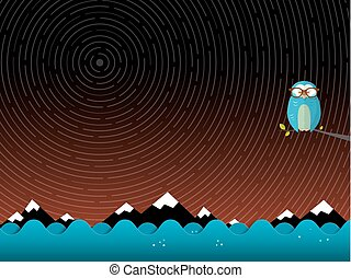 hibou, étoile, premier plan, montagnes, pistes, sur, arrière-plan., ocean., nuit, paysage